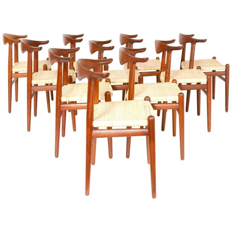 1960s Set of Ten Teak Cow Horn Chairs by Hans J. Wegner for Johannes Hansen For Sale