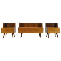 1960s Set of Three Bed Side Tables in Brussels Style, Czechoslovakia