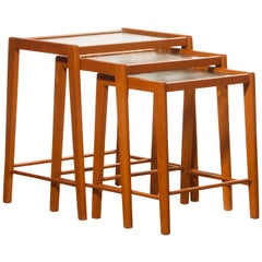 1960s, Set of Three Beech and Glass Nesting Tables, Sweden