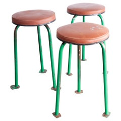 1960s Set of Three Green 1960s Russian Industrial Stools