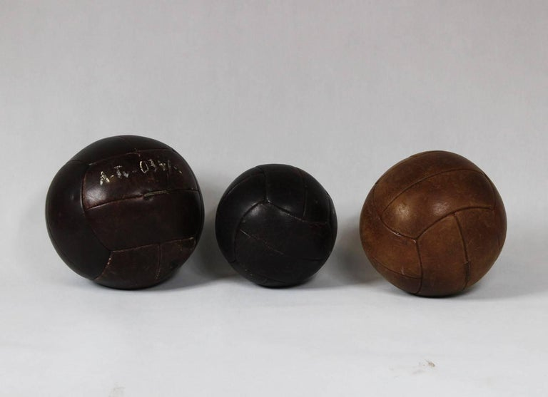 Industrial 1960s Set of Three Leather Gym Balls For Sale