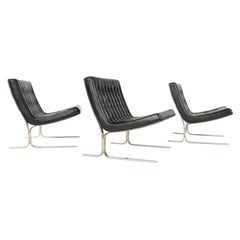 1960s Set of Three Model 28 Black Leather Lounge Chairs by Nicos Zographos