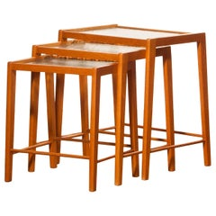 1960s, Set of Three Oak and Glass Nesting Tables, Sweden