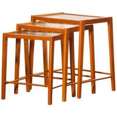 1960s, Set of Three Swedish Beech Nesting Tables