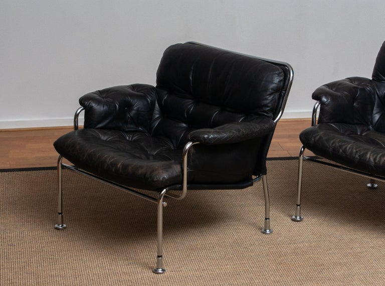 1960s Set Of Two Eva Lounge Chairs In Chrome And Aged