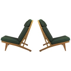 1960s Set of Two H.J. Wegner Lounge Chairs in Oak, Choice of Upholstery