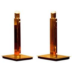 1960s, Set of Two Hollywood Regency Brass Table Lamps by Örsjö, Sweden