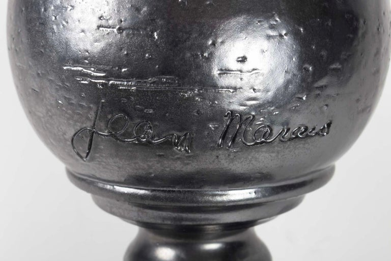 Mid-20th Century 1960s Set of Two Jean Marais Black Enameled Vase and Jug Ceramics For Sale