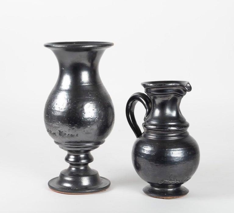 1960s Set of Two Jean Marais Black Enameled Vase and Jug Ceramics For Sale 1
