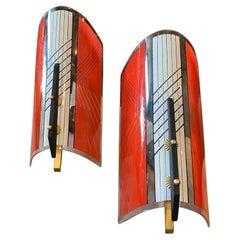 1960s Set of Two Mid-Century Modern Gilardi & Barzaghi Wall Sconces