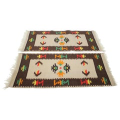 1960s Set of Two Midcentury Wool Kilim Rugs