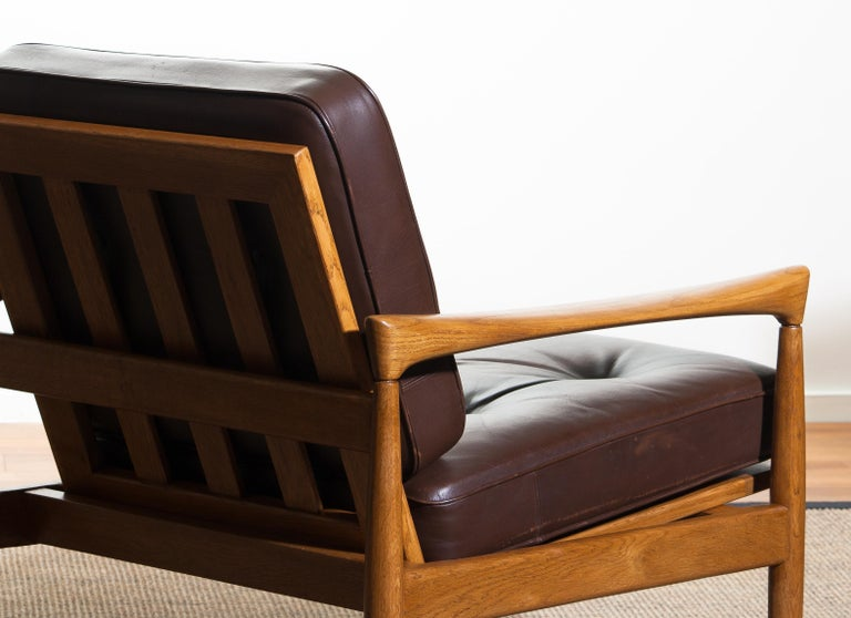1960s, Set of Two Oak and Brown Leather Easy or Lounge Chairs by Erik Wörtz 10