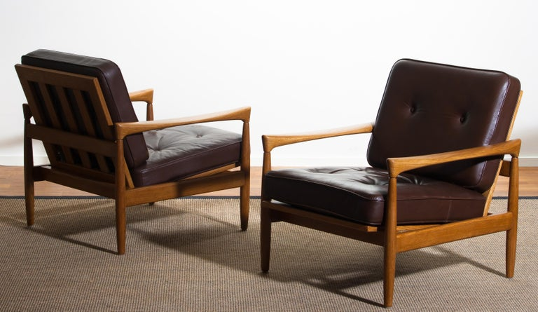 1960s, Set of Two Oak and Brown Leather Easy or Lounge Chairs by Erik Wörtz 11