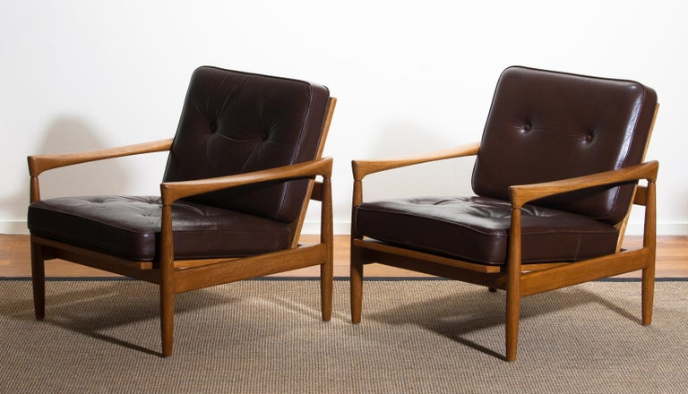 1960s, Set of Two Oak and Brown Leather Easy or Lounge Chairs by Erik Wörtz 12