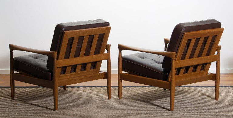 1960s, Set of Two Oak and Brown Leather Easy or Lounge Chairs by Erik Wörtz 13