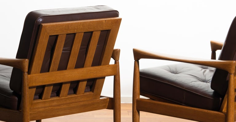 1960s, Set of Two Oak and Brown Leather Easy or Lounge Chairs by Erik Wörtz 14