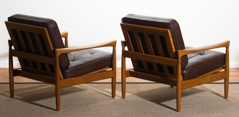 1960s, Set of Two Oak and Brown Leather Easy or Lounge Chairs by Erik Wörtz 15