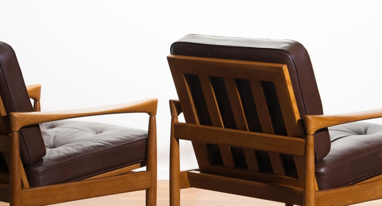 1960s, Set of Two Oak and Brown Leather Easy or Lounge Chairs by Erik Wörtz 16