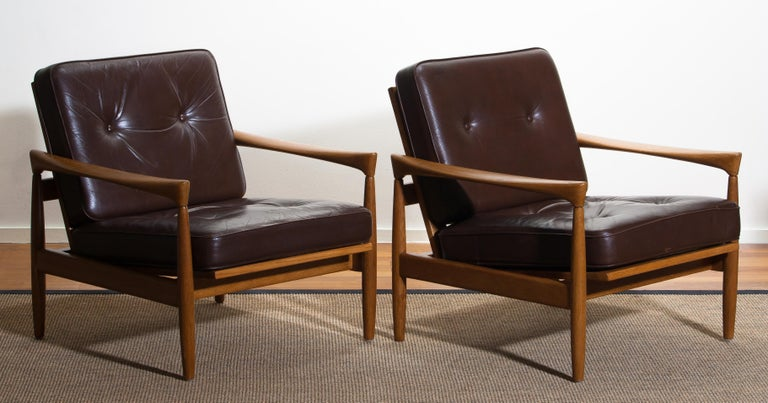 1960s, Set of Two Oak and Brown Leather Easy or Lounge Chairs by Erik Wörtz 17