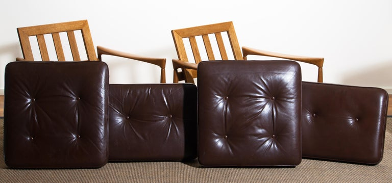 1960s, Set of Two Oak and Brown Leather Easy or Lounge Chairs by Erik Wörtz 18