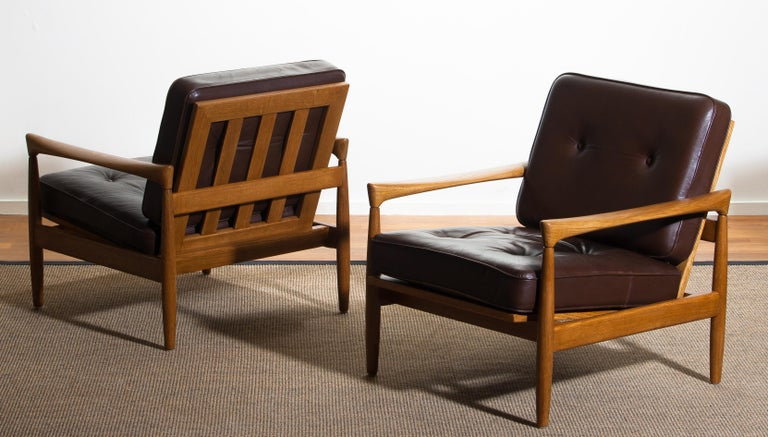 1960s, Set of Two Oak and Brown Leather Easy or Lounge Chairs by Erik Wörtz 2
