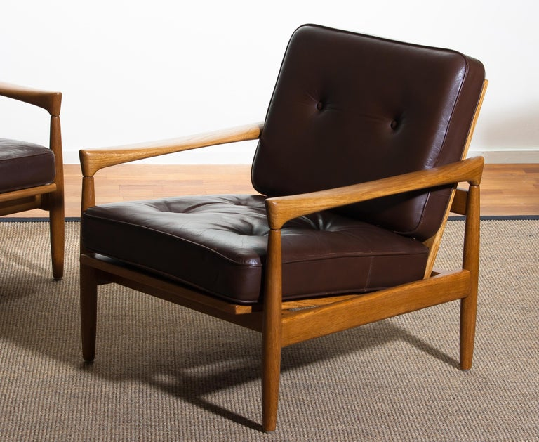 1960s, Set of Two Oak and Brown Leather Easy or Lounge Chairs by Erik Wörtz 3