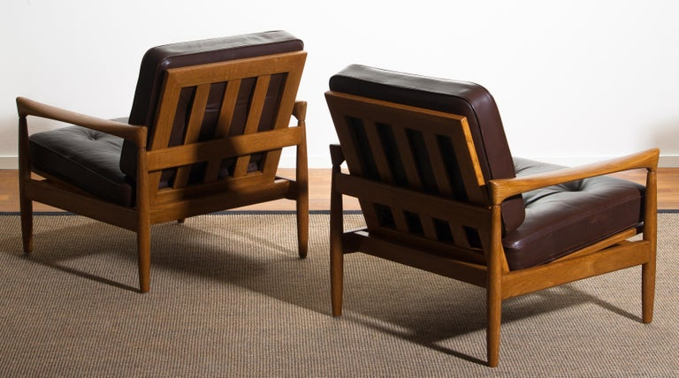 1960s, Set of Two Oak and Brown Leather Easy or Lounge Chairs by Erik Wörtz 6