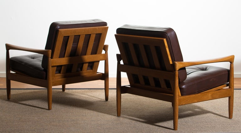 1960s, Set of Two Oak and Brown Leather Easy or Lounge Chairs by Erik Wörtz 7
