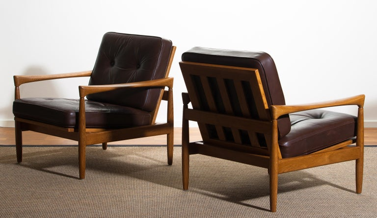 1960s, Set of Two Oak and Brown Leather Easy or Lounge Chairs by Erik Wörtz 9