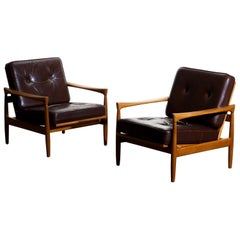 1960s, Set of Two Oak and Brown Leather Easy or Lounge Chairs by Erik Wörtz