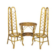 1960s Set with 2 Rattan Tall Chairs and a Small Table, Italy