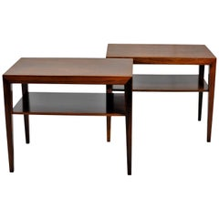 1960s Severin Hansen Set of Two Side Tables in Rosewood by Haslev Møbelsnedkeri
