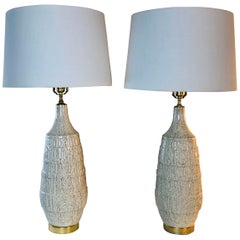 1960s Sgraffito Style Ceramic Table Lamps, Pair