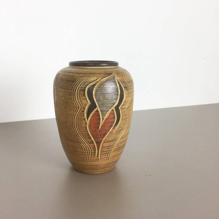 Mid-Century Modern 1960s Sgrafitto Ceramic Pottery Vase by Sawa Ceramic Franz Schwaderlapp, Germany For Sale