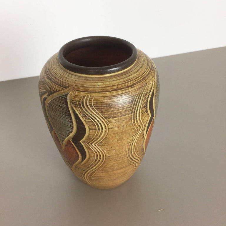 20th Century 1960s Sgrafitto Ceramic Pottery Vase by Sawa Ceramic Franz Schwaderlapp, Germany For Sale