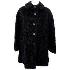 Sheared Faux Fur 1960s Pea Coat