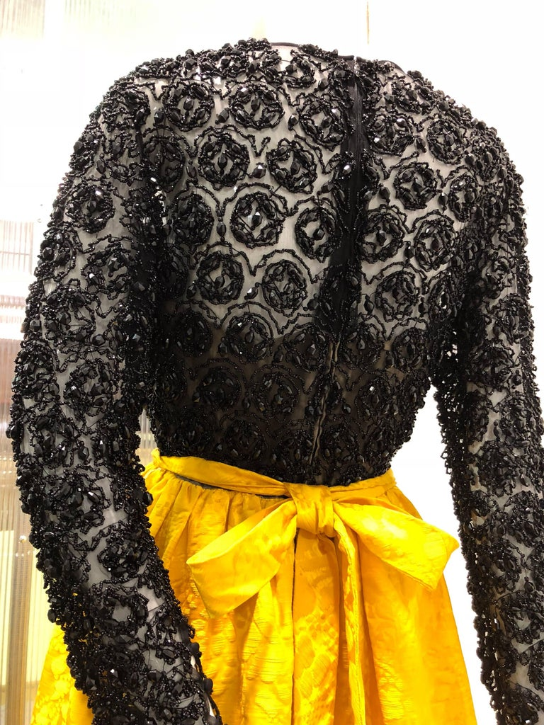 502ce62887b3 Orange Sheer Black Beaded Silk Chiffon and Marigold Jacquard Gown, 1960s  For Sale