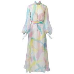 1960s Sheer Watercolor Gown