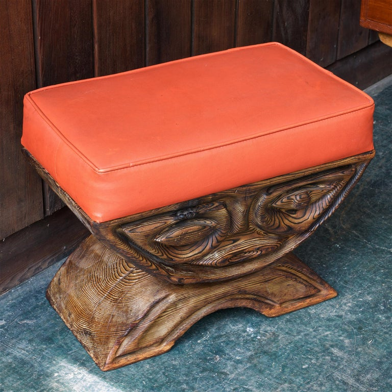 Tribal 1960s Shou-sugi-ban Stool Polynesian Tiki Jungle Wood Sculpture Orange Kids Room For Sale