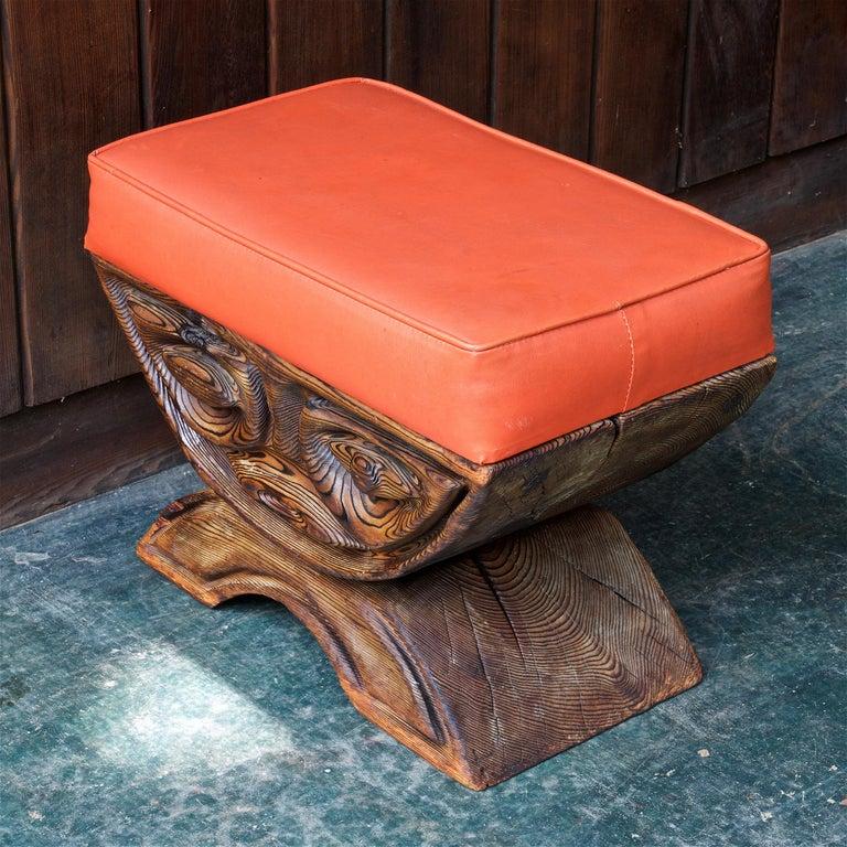 American 1960s Shou-sugi-ban Stool Polynesian Tiki Jungle Wood Sculpture Orange Kids Room For Sale