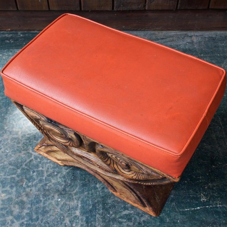 Hand-Carved 1960s Shou-sugi-ban Stool Polynesian Tiki Jungle Wood Sculpture Orange Kids Room For Sale