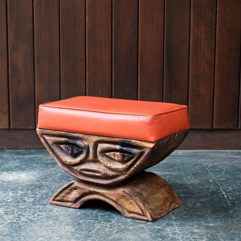 1960s Shou-sugi-ban Stool Polynesian Tiki Jungle Wood Sculpture Orange Kids Room For Sale 1