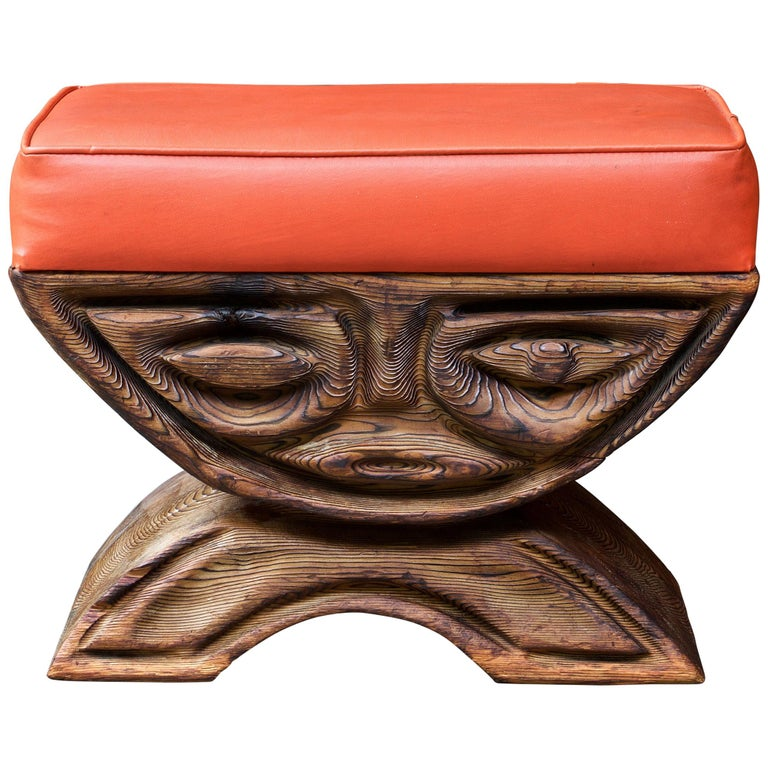 1960s Shou-sugi-ban Stool Polynesian Tiki Jungle Wood Sculpture Orange Kids Room For Sale