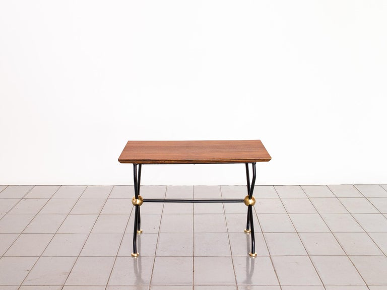 Mid-Century Modern 1960s Side Table in Wrought Iron, Brass and Teak, Brazil Mid Century Modern For Sale