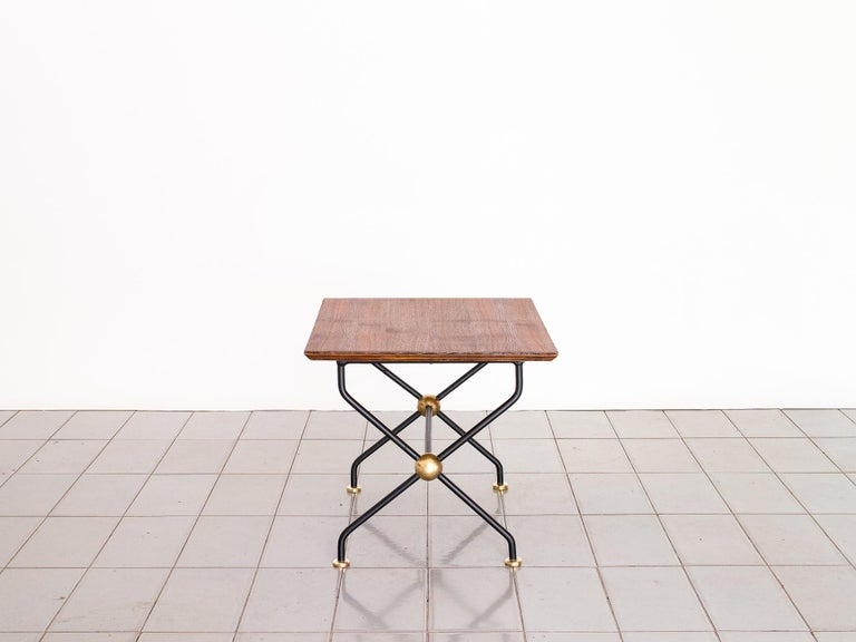 Brazilian 1960s Side Table in Wrought Iron, Brass and Teak, Brazil Mid Century Modern For Sale