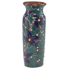 1960s Signed Ceramic Vase with Floral Pattern