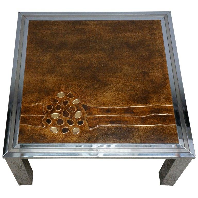 1960s Signed De Nisco Chrome and Enamel Coffee Table For Sale