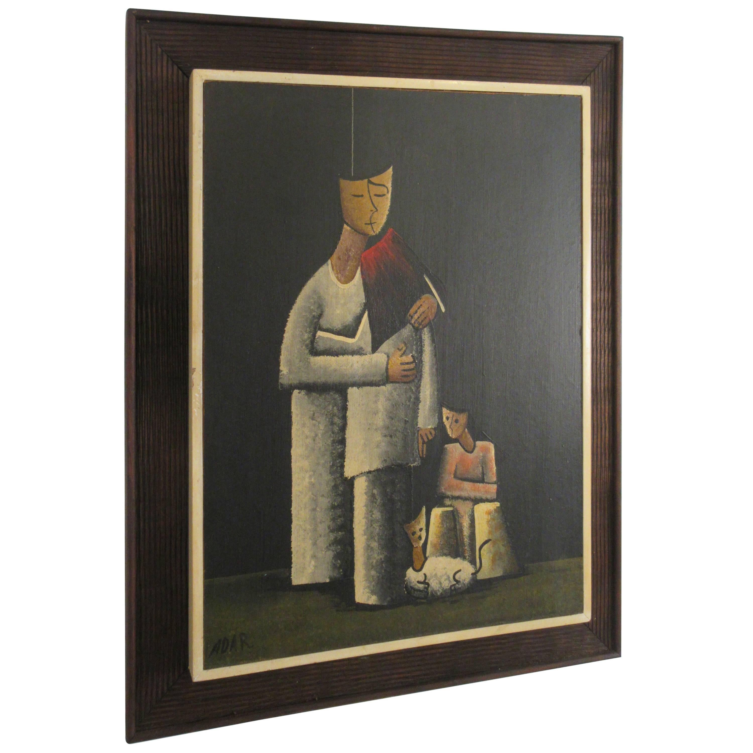 1960s Signed Oil on Board Mother and Children