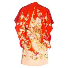 1960S Silk Floral And Bird Printed Child's  Kimono