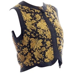 1960S Gold Beaded Silk Lurex Lace Vest Top